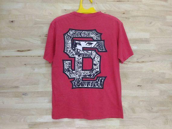 Vintage Rare 90s Santa Cruz SC Logo Skate Shirt  Red Colour Shirt Skate Punk Rock Shirt by ArenaVintage