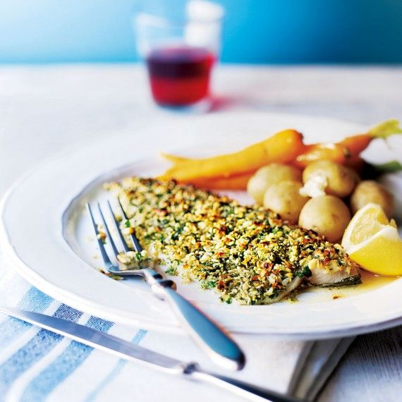 Baked almond-crusted trout