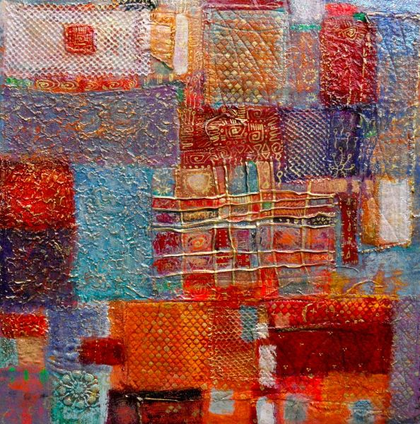 "dorothy marczinko,16""x16"" acrylic over layered, sewn textiles with an oil-based glossy varnish. Abstract Sample"
