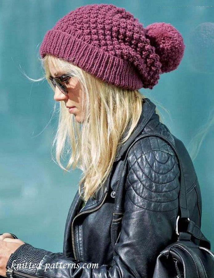 Womens Knit Hat Pattern : Womens beanie knitting pattern free Free knitting ...