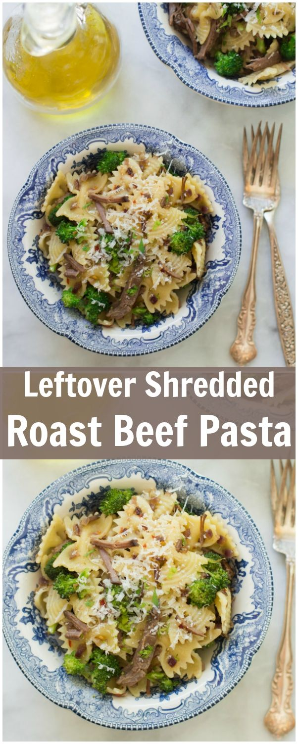 This Leftover Shredded Roast Beef Pasta is a quick and delicious dinner, made with your leftover beef, broccolis, parmesan cheese and your favourite type of pasta.