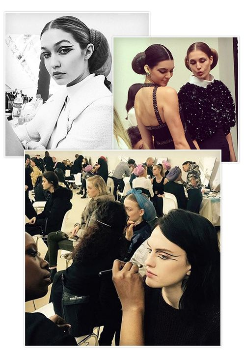 Le look beauté du défilé #Chanel haute couture printemps-été 2016, cheveux chignon croissant par Sam McKnight, yeux regard eye liner graphique Gigi Hadid Kendall Jenner en backstage
