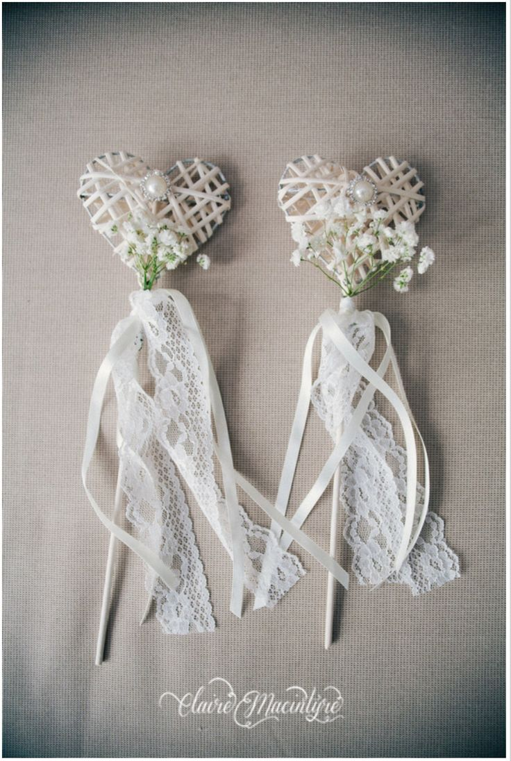 Vintage style Wedding flower girl wands.  Heart shaped with pearls, lace and gypsophila