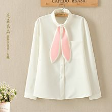 Japanes Mori Fille Douce Blouses Femmes En Mousseline de Soie de Lapin Oreilles Solide Blanc Pleine Manches Poche Femelle Robe Blouses Blusa U088(China (Mainland))