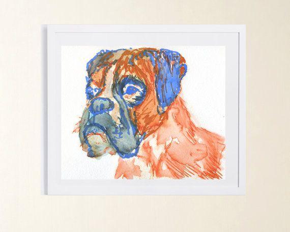 Orange blue boxer print https://t.co/H97BQtCRUq #boxerdogs #art #etsy #boxersoftwitter #homedecor