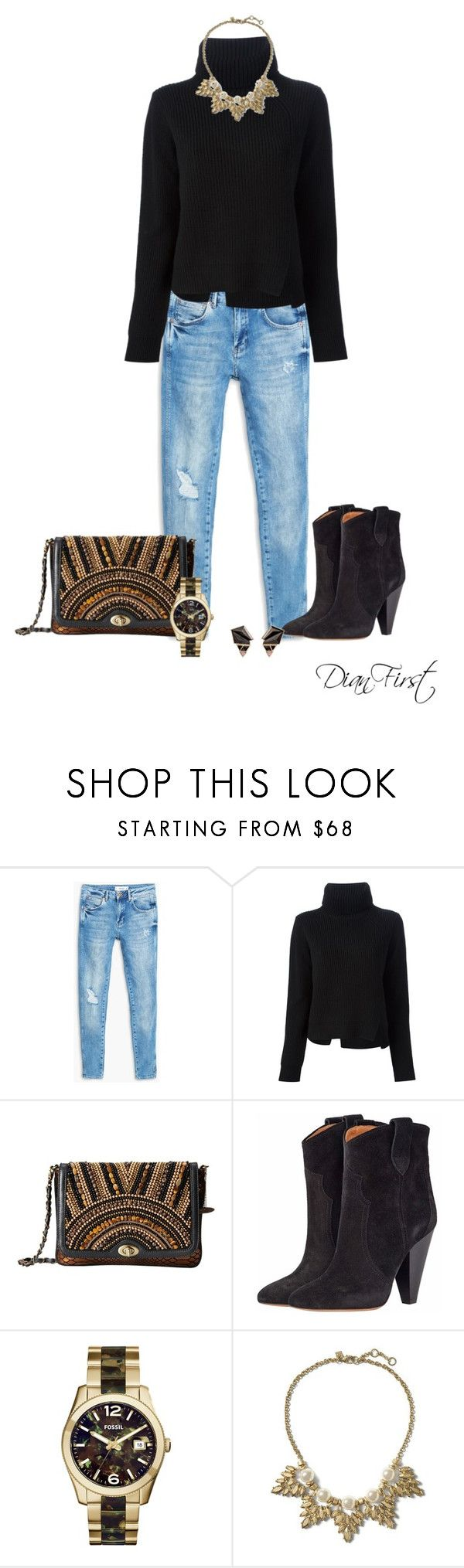 """""""Falling for Black Sweater"""" by dianfirst ❤ liked on Polyvore featuring MANGO, Proenza Schouler, Mary Frances Accessories, Isabel Marant, FOSSIL, Banana Republic and Nak Armstrong"""