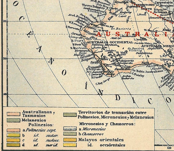 Vintage Map Oceania Ethnography 1923 Cultures Native Peoples.