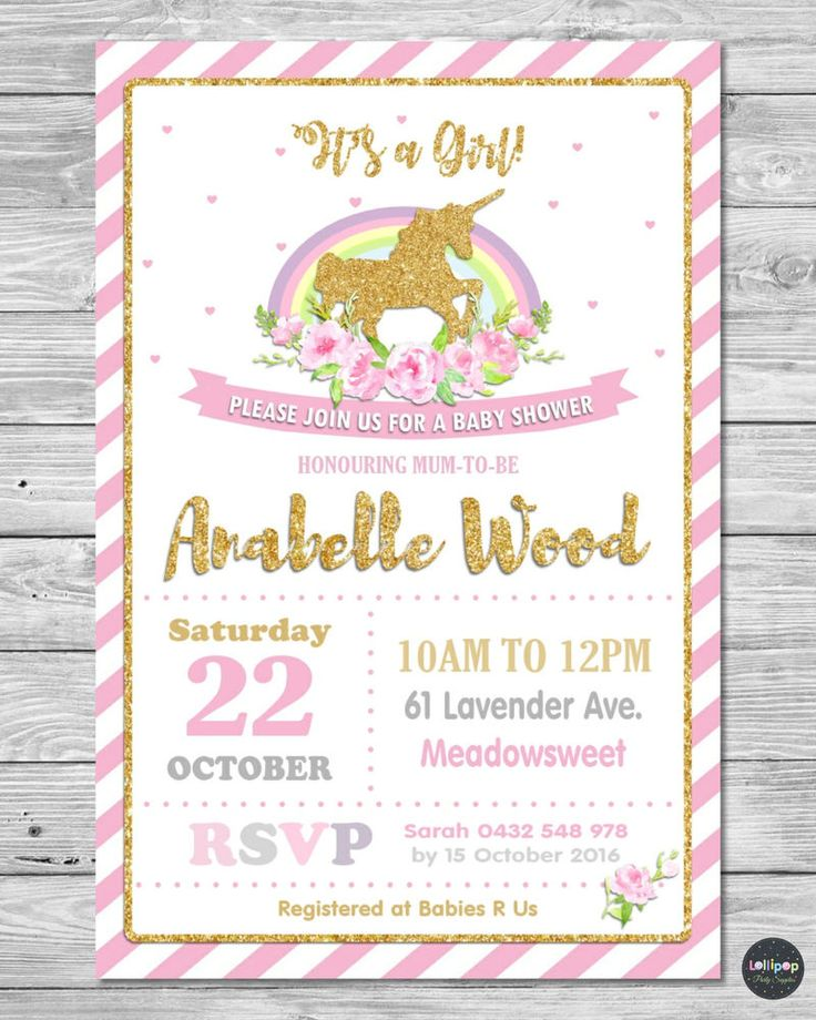 details about unicorn baby shower personalised invitations