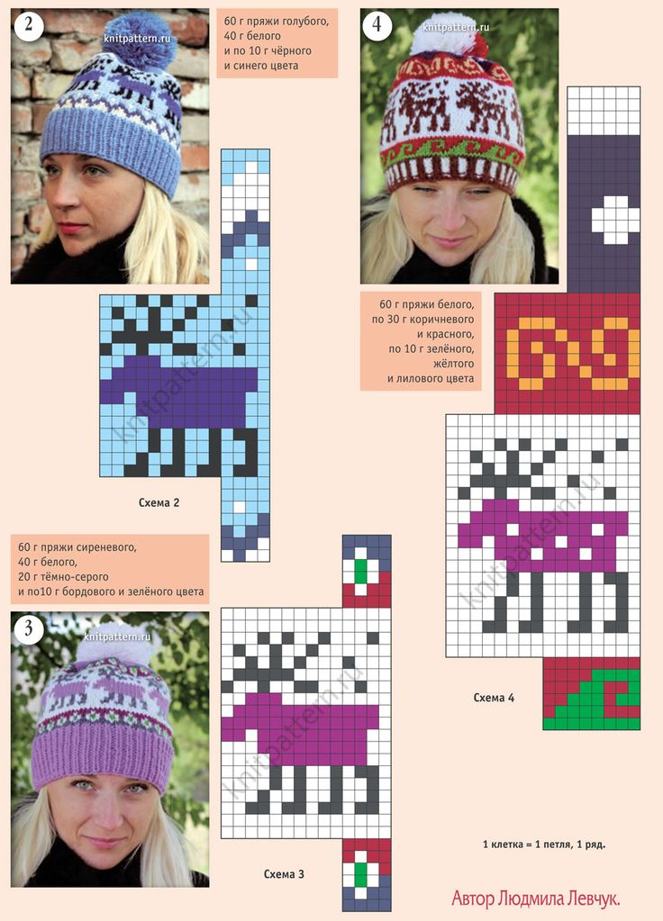 Knitting Caps / Hats with a Jacquard Loom ___ Pics and Patterns - Page 140 = Вязанные на спицах шапочки с жаккардовыми узорами ___ Knitting Patterns Are  in Russian, but Charts / Diagrams Are Easy to Follow *** If You Can Use International Knitting Charts / Diagrams ***