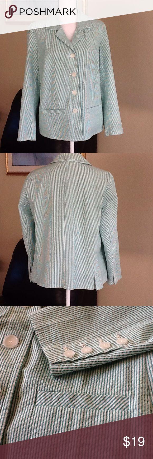 Talbots woman petites stretch seersucker jacket Green & white seersucker stripes - ready for Spring! 95% cotton, 5% spandex; machine wash cold. Good used condition. Talbots Jackets & Coats Blazers
