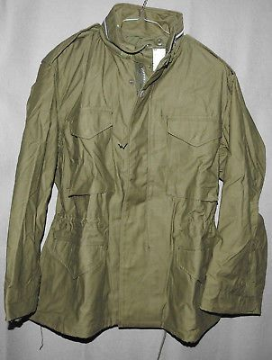 US Army Field Jacket M-65 OG-107 Coat Man's Field w\ Hood SHORT LARGE 1968 NEW