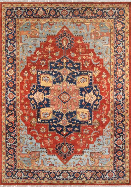 Serapi Rust Navy Indian Rug By Nazmiyal