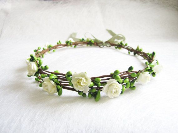 Wedding Floral Crown light Ivory Flower by HydrangeasLover on Etsy