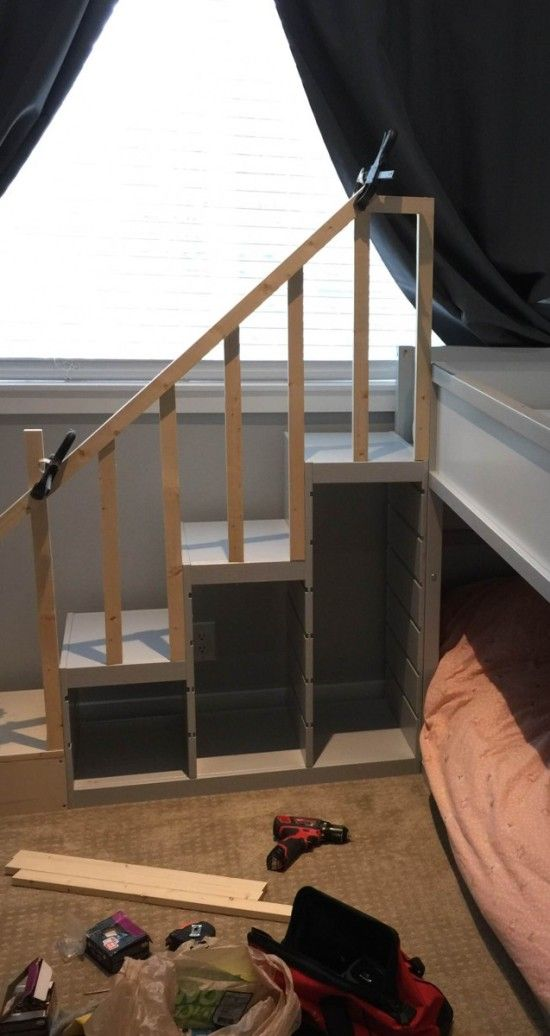 the top bunk of the kura bed is fairly low compared to true bunk beds and the bottom bunk would be on the floor which is ideal for our 18 month old