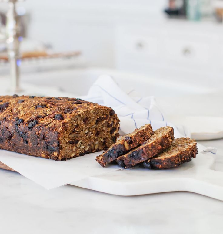 Alanna's Pumpkin Cranberry Nut and Seed Loaf - This delicious flourless loaf is vegan, gluten free, and packed with nutrients from seeds & nuts. Toast a slice for a hearty breakfast. Recipe from the book Alternative Baker.
