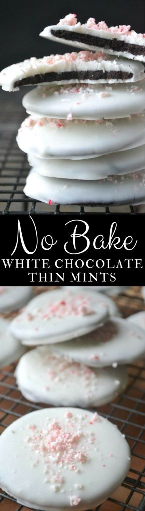 Easy No Bake White Chocolate Thin Mints ~ just four simple ingredients is all it takes to make these divine minty cookies! #cookies #thinmints #girlscoutcookies #nobakecookies #nobake #whitechocolate #peppermint #Christmascookies #whitechocolatecookies #Oreos, #chocolate #holidaycookies