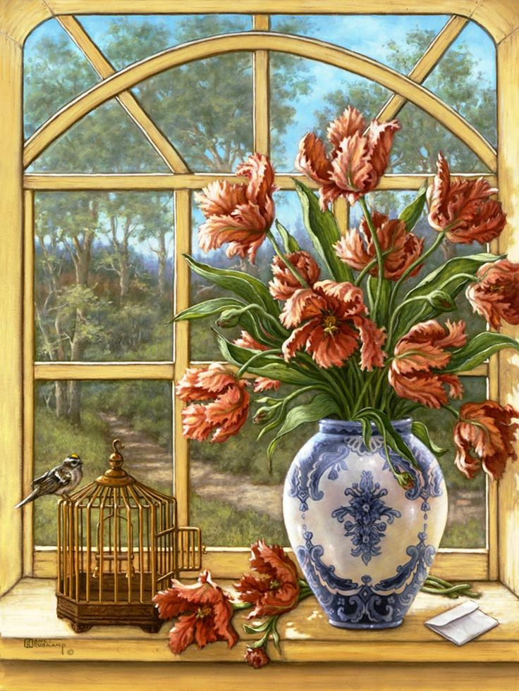 Janet Kruskamp's Paintings - Dragon Tulips, a painting of a white porcelain vase with blue decoration holding dragon tulips, sitting on a wi...
