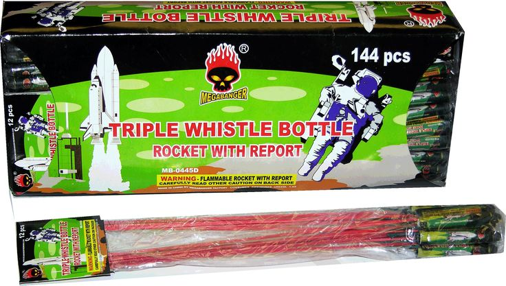 Triple Whistle Bottle Rocket w/ Report - North Central Industries - www.greatgrizzly.com - MUNCIE INDIANA WHOLESALE FIREWORKS •Category: Bottle Rockets •Item Number: 200 •Package Contents: 20-12-12 •Dimensions: 12 x 2 x 4 •Weight: 22 Brand Name: Megabanger