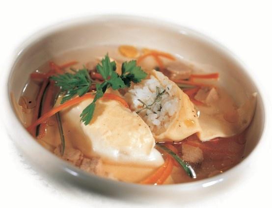 Triangolo di riso e Grana Padano al timo in brodo di carne e verdura Cliccate sulla foto per la ricetta completa!