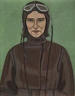 Rita Angus - The Aviatrix  1933  oil on canvas, 530 x 450 mm  Post Family Trust Collection