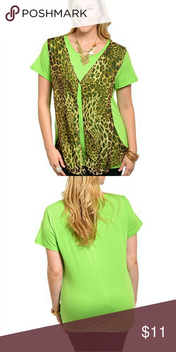Green Women's Top size 3X This unique short sleeve top features a combination sheer leopard pattern print layer with a single button closer. Loose relax fit. 100% Polyester Dilated USA  Tops Blouses