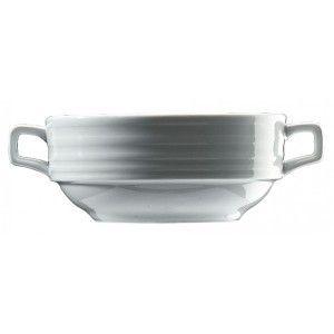 Bol pentru supa cu doua toarte. Are diametrul de 120 mm si capacitate de 300 ml. Este realizat din portelan alb, lucios, si este texturat pe partea exterioara.