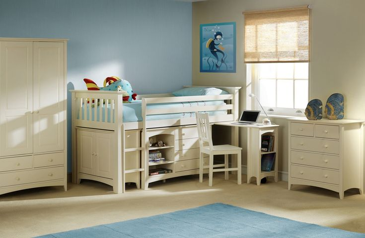 Perfect for the children's bedroom where space is limited. Finished in stone white lacquer, the Sleep Station features a pull out desk, 4 drawer and shelf unit and a mini hanging wardrobe Buy Star Collection, Cameo Sleep Station - bedstar.co.uk  #Bedstar #aff