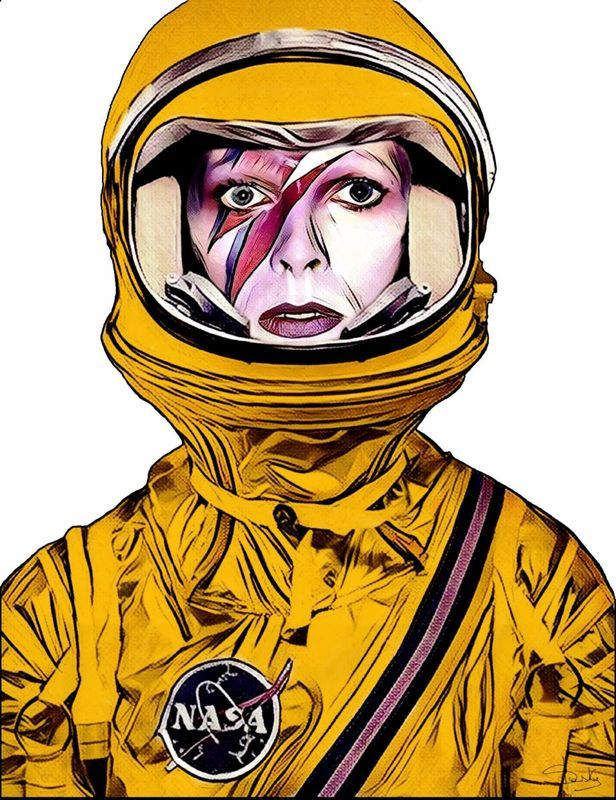 """Spaceman"" by Slasky. Digital Art (Giclée) on Canvas, Subject: People and portraits, Urban and Pop style, From a limited edition of 1, Signed and numbered certificate of authenticity, This artwork is sold unframed, Size: 70 x 90 x 0.2 cm (unframed), 27.56 x 35.43 x 0.08 in (unframed), Materials: canvas"