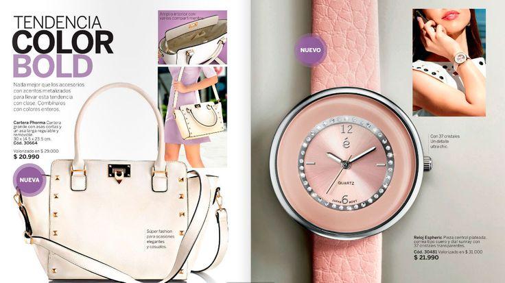 Lo quiero!!! Cartera grande con varios compartimientos y reloj super fashion. Pide el tuyo y en pocos dias lo tendrás en tus manos.