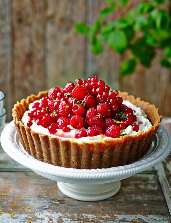 Pile-it-high raspberry and redcurrant cheesecake tart - Sainsbury's Magazine