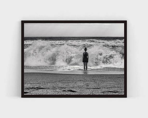 Storm Art Print, Black and White Photography, Sea Ocean Photography Printable Wall Art, Landscape, Hurricane, Nature, Be Brave, Lonely, Wave