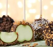Mrs. Prindable's apples- Too expensive!DIY!! dip in caramel, cool, dip in melted real chocolate, dip in crushed macadamia,walnuts, or cashews.cool in fridg to set.