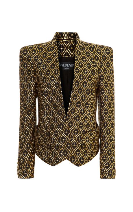 Shop Jacquard Structure Shoulder Blazer by Balmain - Moda Operandi