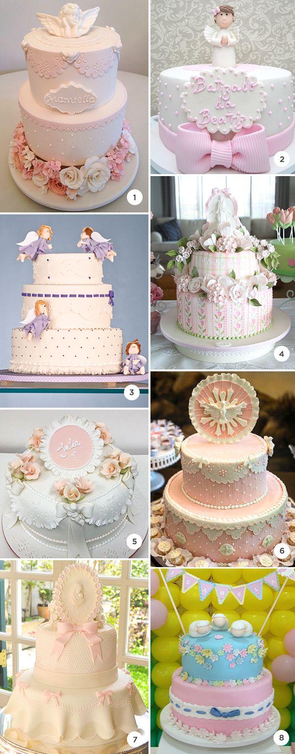 8 bolos de batizado de menina