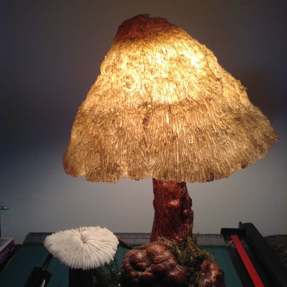 Vintage Mushroom Shade and Burl Wood Lamp. by TheGrooveVintage