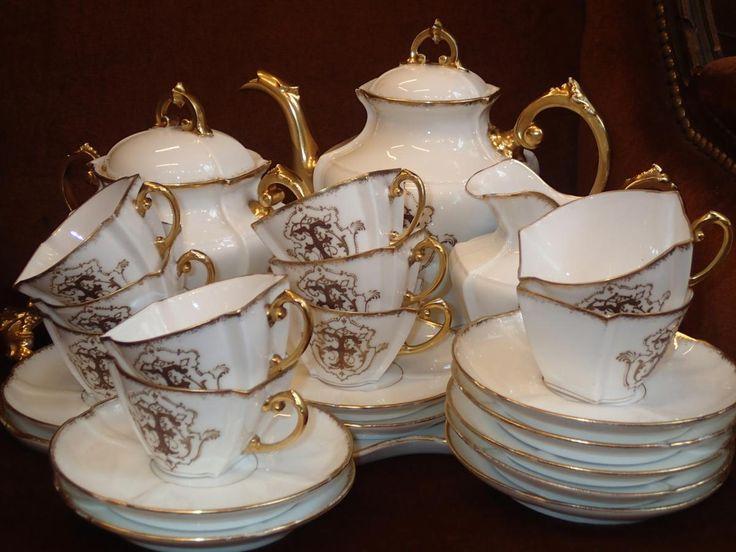 Service  A Café Porcelaine Limoges Fin XIX Eme, La Girandole  de Lyon, Proantic