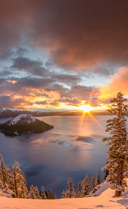 Crater Lake sunrise in southern Oregon • photo: Greg Nyquist on FineArtAmerica