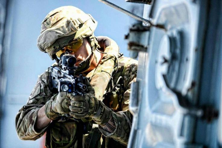 Royal Marines boarding team in training