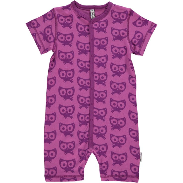 Purple Cat Rompersuit Monochromatic Kids Clothes by Maxomorra. Organic Cotton Kids Clothes. Offered in Canada by Modern Rascals.