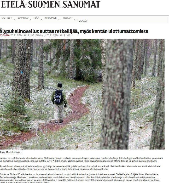 Valtakunnallisen Outdoors Finland -hankkeen tuloksista viestittiin laajasti. Toteutus yhteistyössä Pieni Ideapuoti.
