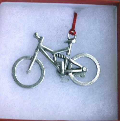 This beautifully hand-crafted pewter Full Suspension Mountain Bike Ornament will make an elegant addition to your holiday tree or a great