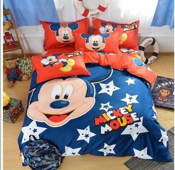 Gratis verzending 10 stijl hoge kwaliteit geel mickey mouse beddengoed sets beddengoed voor kinderen kingsize quilt dekbedovertrek kussen