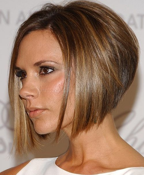 bubifrizurák, bubi frizurák - Victoria Beckham előre hosszabbodó bubifrizura