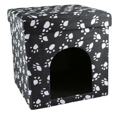 Love2Pet Cat Paw Palace - Foldable Portable - in Camel or Charcoal with Paw Prints