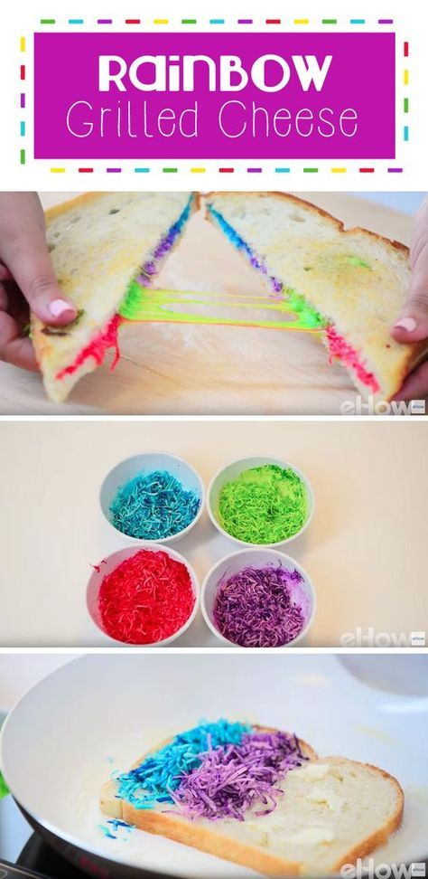 Rainbow grilled cheese is a magical, fun treat for kids and adults alike! Cheese with a little food coloring goes a long way to make our favorite comfort food even more amazing! How-to here: http://www.ehow.com/how_12343473_rainbow-grilled-cheese-recipe.html?utm_source=pinterest.com&utm_medium=referral&utm_content=freestyle&utm_campaign=fanpage