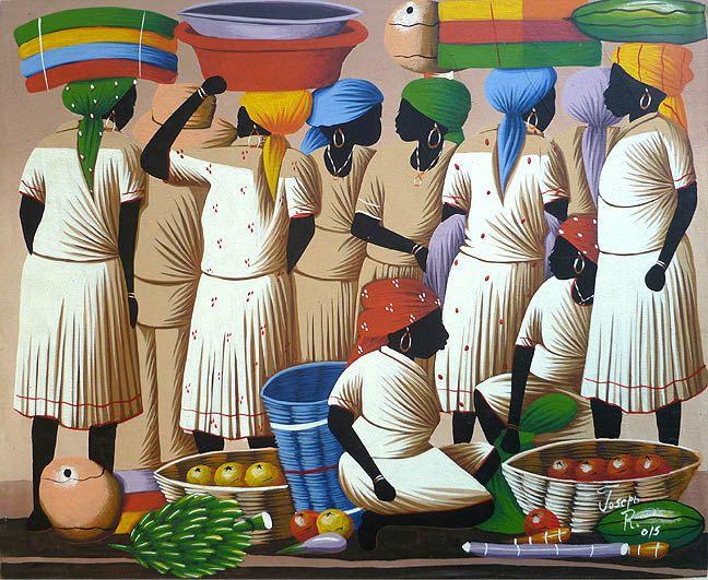 "Haitian Art Canvas Painting - Haitian Market Women- Art of Haiti - Ethnic Art-  Primative Caribbean Art, Haitian Art - 20"" x 24"" - 276 by TropicAccents on Etsy"