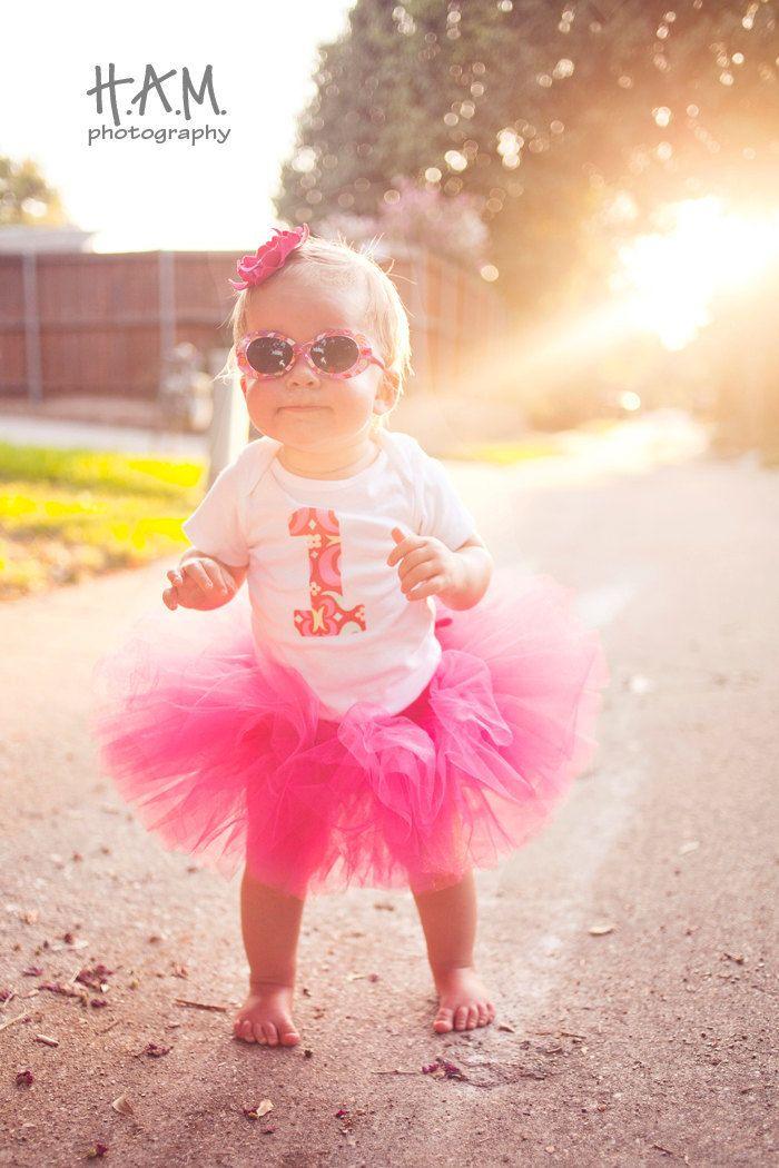 1 Onesie - Birthday Bodysuit - Baby Girl One Year Old Onesie Pink Amy Butler Midwest Modern ...