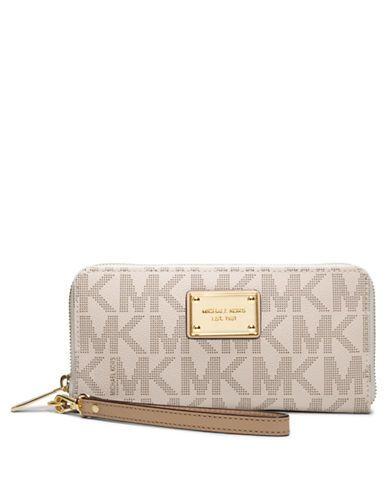 Michael Michael Kors Jet Set Leather Tech Continental Wallet Vanilla. Cheap  Michael Kors HandbagsCheap ...