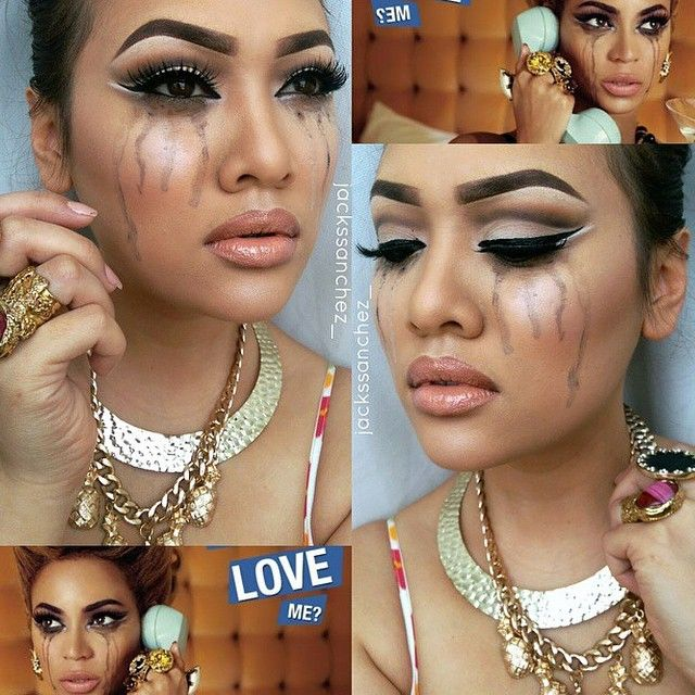 """#ShareIG We seriously love this girl @jackssanchez_ recreating Beyonce's look from the """"why don't you love me"""" video, we seriosuly can't wait till you get @makeupsocialapp on your android  Everyone go follow her, she's such a  #jackssanchez #makeupsocial #makeupsocialapp"""