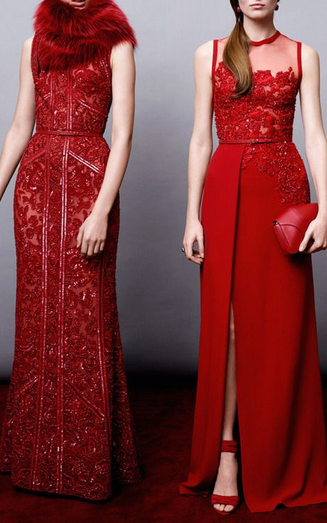Elie Saab Crepe Cady And Embroidery Gown Cardinal – $6,885 Moda Operandi.